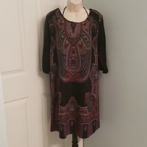 Ashley Stewart 1X Paisley Knit Dress